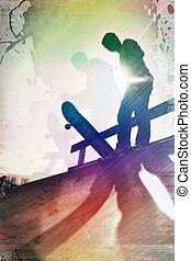 grungy, skateboarder