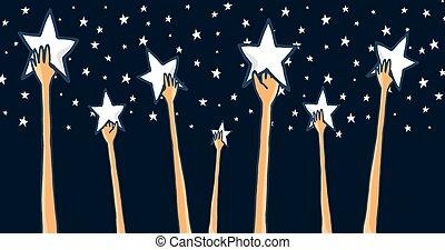 grupo, éxito, alcanzar, estrellas, manos, o