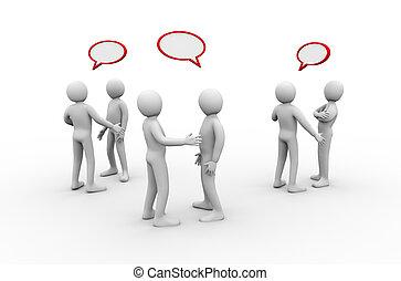Grupo 3D de personas reuniéndose y discutiendo