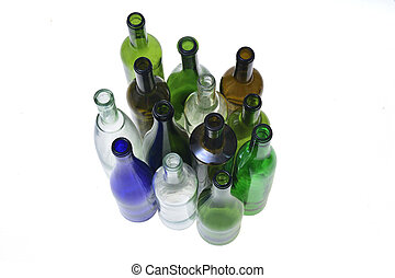 grupo, blanco, botella, aislado