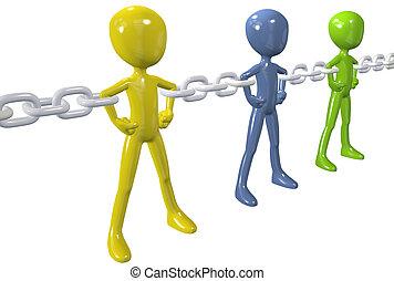 grupo, cadena, gente, unir, diverso, enlace, fuerte