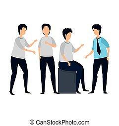 grupo, carácter, avatar, hombres jóvenes