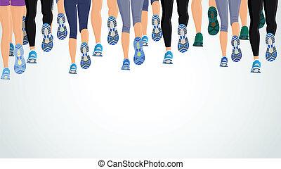 Grupo corriendo piernas de la gente