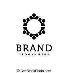 grupo, creativo, red, design., icono, logotipo, vector., equipo