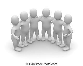Grupo de amigos. 3d ilustrado.
