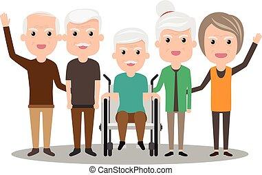 Grupo de ancianos permanecen unidos. Ilustración de vectores de salud. El concepto de los ancianos. Abuelo y abuela.