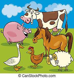 Grupo de animales de granja de dibujos animados