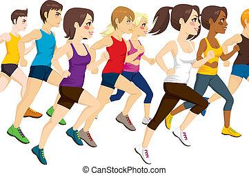 Grupo de atletas corriendo