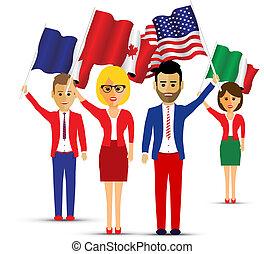 Grupo de bandera ondeando gente