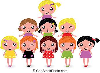 Grupo de chicas felices aisladas en blanco
