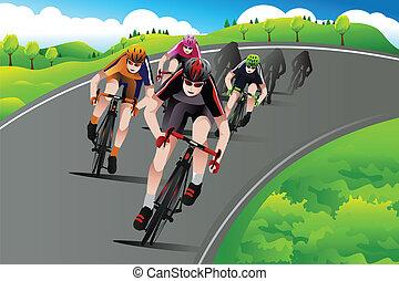 Grupo de ciclistas corriendo