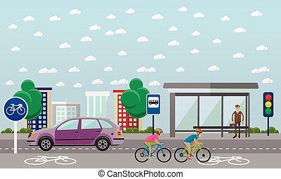 Grupo de ciclistas en bicicleta. Calle con línea de bicicleta. Ilustración de vectores en diseño plano.