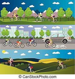 Grupo de ciclistas en bicicletas en montañas, carretera y parque. Estandartes deportivos. Ilustración de vectores al estilo plano