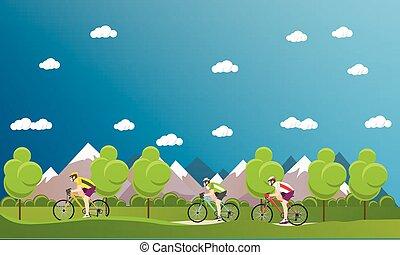 Grupo de ciclistas en bicicletas en montañas y parque. Estandartes de dibujos animados. Ilustración de vectores diseño plano