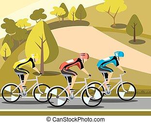 Grupo de ciclistas en el deporte de carretera