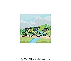 Grupo de ciclistas en las montañas