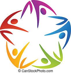 Grupo de cinco personas de color logotipo