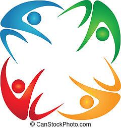 Grupo de cuatro personas de color logotipo