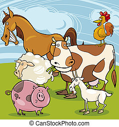 Grupo de dibujos animados de animales de granja