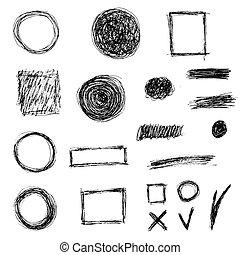 Grupo de elementos de garabato, vector