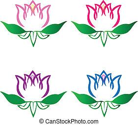 Grupo de flores de loto vector de logo