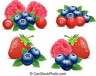 Grupo de frutas del bosque frambuesas, fresas, arándanos, arándanos