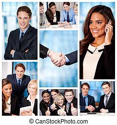 Grupo de gente de negocios, collage.