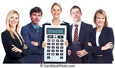 Grupo de gente de negocios con calculadora.