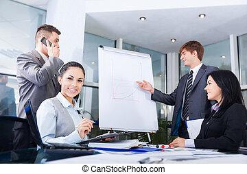 Grupo de gente de negocios. Equipo de dibujo gráfico