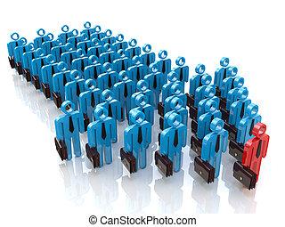 Grupo de gente y líder. El concepto de liderazgo