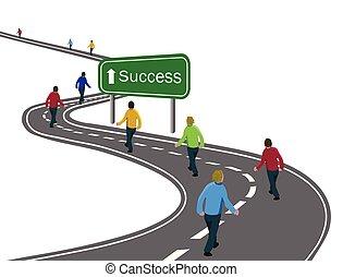 Grupo de hombres caminando por la curva de la carretera asfalto hasta el éxito de la señal verde con el concepto de flecha blanca de camino al éxito goles de éxito, cooperación del equipo, victoria o viaje