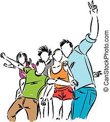 Grupo de ilustraciones de gente feliz