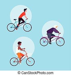 Grupo de jóvenes montando en bicicleta personaje avatar