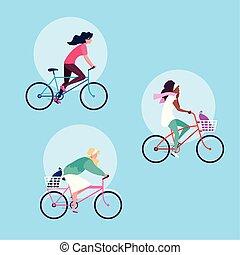Grupo de mujeres jóvenes montando en bicicleta personaje avatar