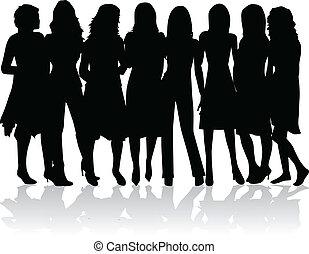 Grupo de mujeres, siluetas negras