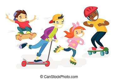 Grupo de niños multiétnicos jugando juntos.