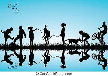 Grupo de niños siluetas jugando