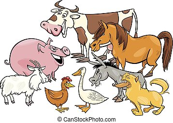 Grupo de personajes animales de granja de dibujos animados