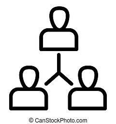 Grupo de personas alinean icono. Intercambio de ideas ilustradas aisladas en blanco. Diseño de estilo de equipo, diseñado para web y aplicación. Eps 10.
