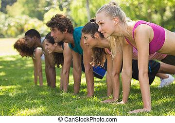 Grupo de personas en forma haciendo flexiones en el parque