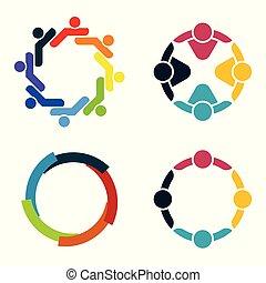 Grupo de personas en un círculo. Reunión de trabajo en equipo. La gente se reúne en la habitación. Poderosas fuerzas combinadas.