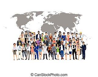 Grupo de personas mapa del mundo
