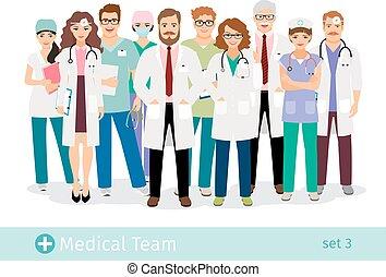 Grupo de profesionales del personal médico en uniforme