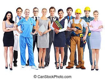 Grupo de trabajadores profesionales.
