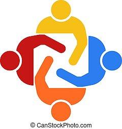 Grupo de trabajo en equipo de cuatro personas ilustración vectorial