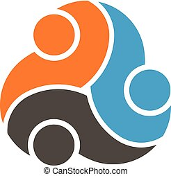 Grupo de trabajo en equipo de tres personas logotipo