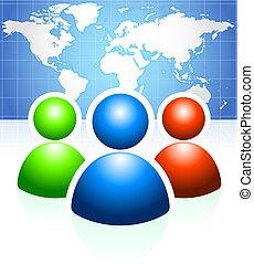 Grupo de usuarios con formación de mapa mundial