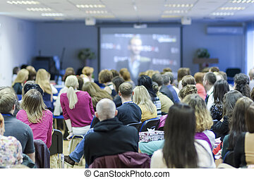 grupo, durante, grande, front., oyentes, conferencia, pantalla, mirar