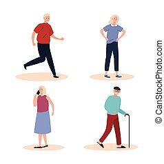 grupo, gente, caracteres, viejo, cuatro, anciano