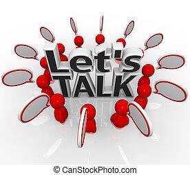 grupo, gente, dejarnos, discurso, nubes, círculo, discutir, charla